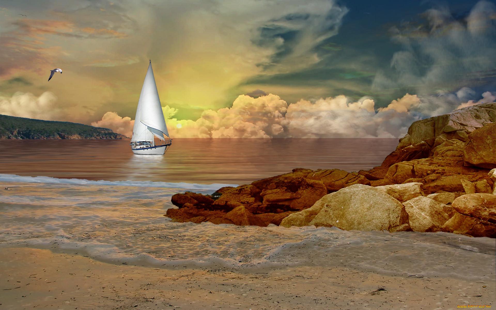нам картинка корабль море скалы более, что одна